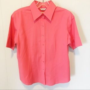 Talbots Coral Button Down Spilt Sleeve Top Size 8P
